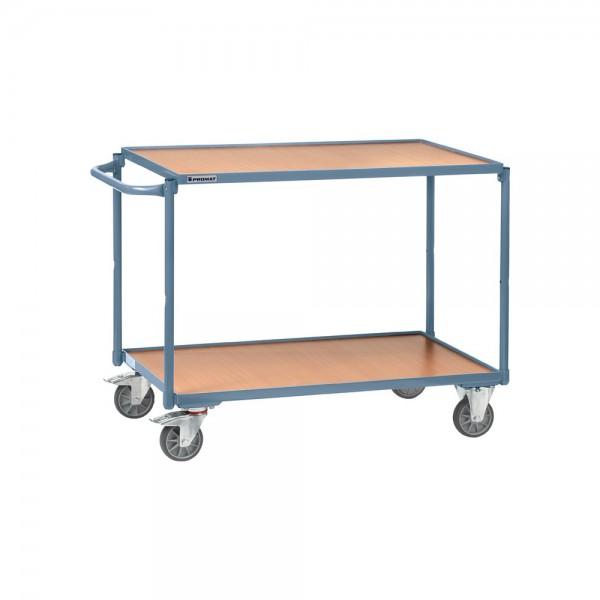 Tischwagen 2 Ladeflächen L1000xB600mm taubenblau, RAL 5014 Trgf.300 kg Schiebebügel waagerecht