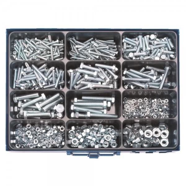 Sechskant-Stahlschrauben Sortiment, 400 Teile