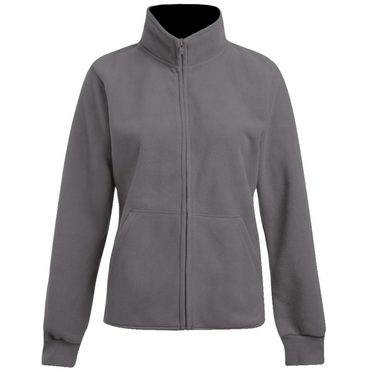 Damen Fleece Jacke grau/schwarz