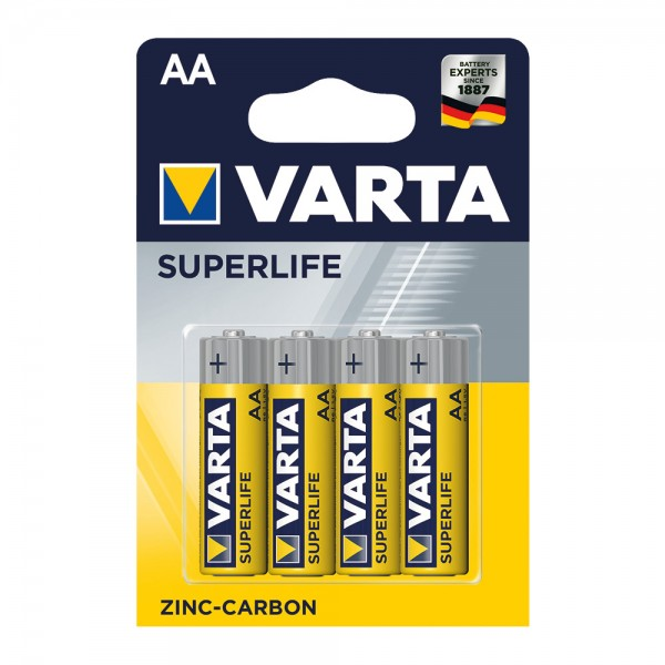 Superlife Zink-Kohle Batterien AA, 4 Stück
