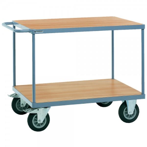 Tischwagen 2 Ladeflächen L1000xB700mm taubenblau, RAL 5014 Trgf.600 kg