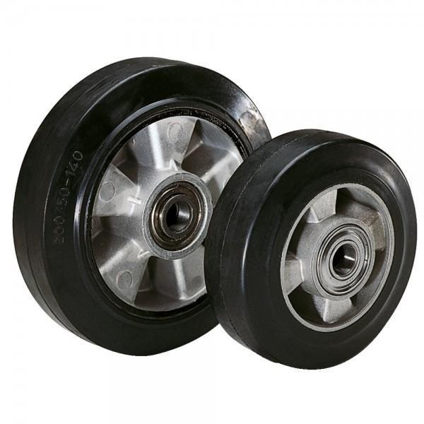 Rad mit Elastik-Vollgummireifen, Aluminium Radkörper, Kugellager