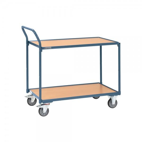 Tischwagen 2 Ladeflächen L1000xB600mm taubenblau, RAL 5014 Trgf.300 kg Schiebebügel senkrecht