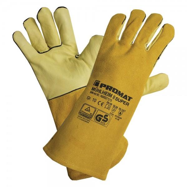 Schweißerhandschuhe Mühlheim II Super Größe 10 gelb Rindnarben-/Spaltleder EN 388, EN 12477 Kategori